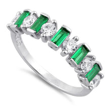 Load image into Gallery viewer, Sterling Silver Round & Baguette Emerald CZ Ring