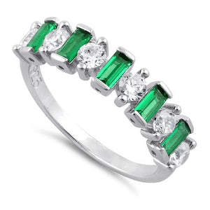 Sterling Silver Round & Baguette Emerald CZ Ring