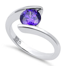 Load image into Gallery viewer, Sterling Silver Round Bezel Amethyst CZ Ring