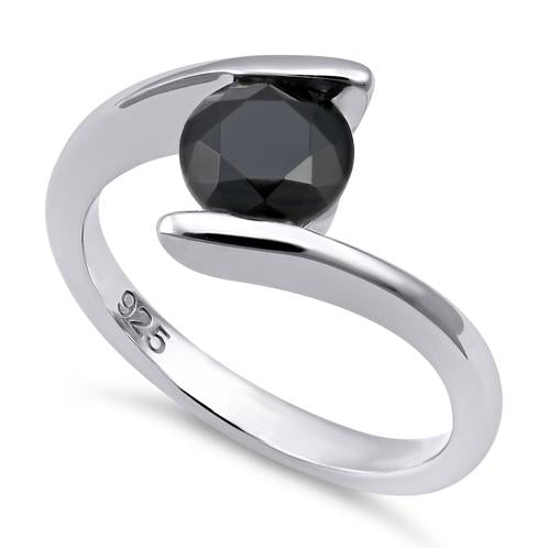 Sterling Silver Round Bezel Black CZ Ring
