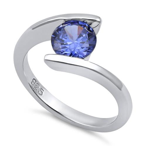 Sterling Silver Round Bezel Tanzanite CZ Ring