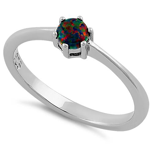 Sterling Silver Round Black Lab Opal Ring