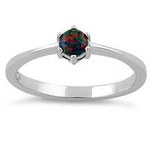 Load image into Gallery viewer, Sterling Silver Round Black Lab Opal Ring