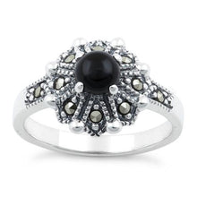Load image into Gallery viewer, Sterling Silver Round Black Onyx Flower Marcasite Ring