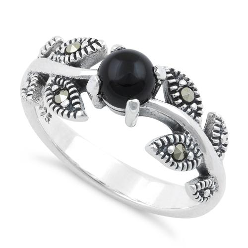 Sterling Silver Round Black Onyx Leaves Marcasite Ring