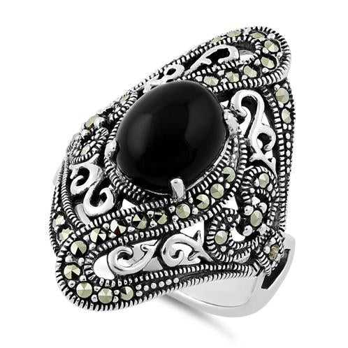 Sterling Silver Round Black Onyx Wide Marcasite Ring