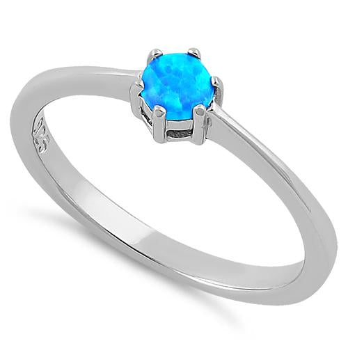 Sterling Silver Round Blue Lab Opal Ring