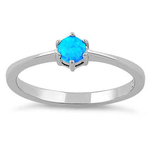 Load image into Gallery viewer, Sterling Silver Round Blue Lab Opal Ring