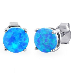 Sterling Silver Round Blue Lab Opal Stud Earrings