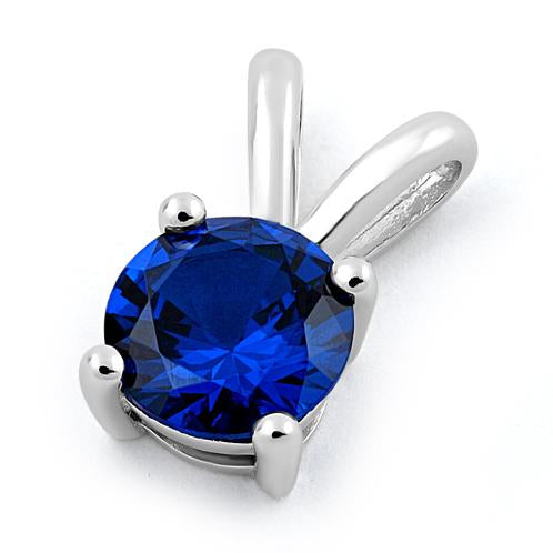 Sterling Silver Round Blue Spinel CZ Pendant