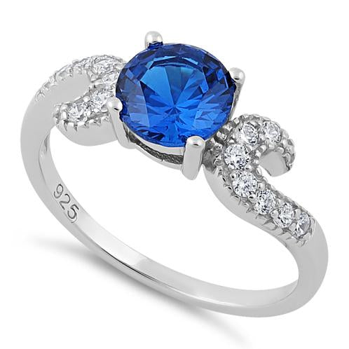 Sterling Silver Round Blue Spinel CZ Ring