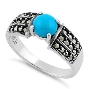Sterling Silver Round Simulated Turquoise Marcasite Ring