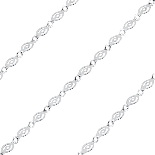 Sterling Silver Round Chain Circle Pattern 4mm (sold by the foot)