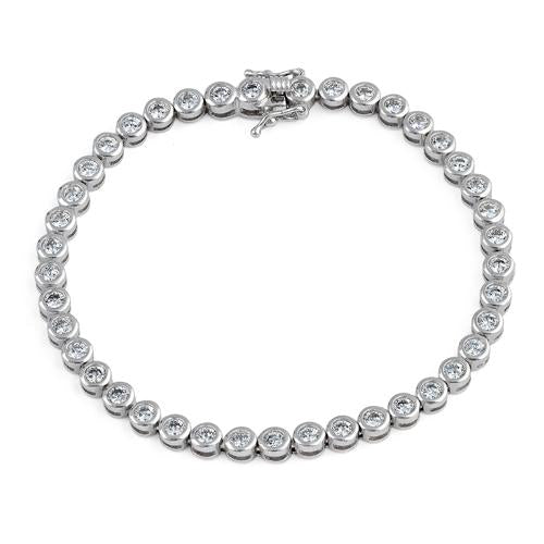 Sterling Silver Round Clear CZ Tennis Bracelet