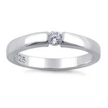 Load image into Gallery viewer, Sterling Silver Round Clear CZ Ring