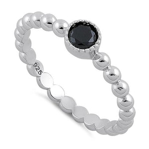 Sterling Silver Round Cut Beaded Black CZ Ring
