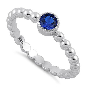 Sterling Silver Round Cut Beaded Blue Spinel CZ Ring