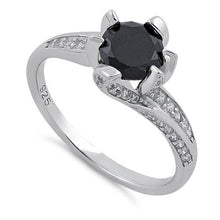 Load image into Gallery viewer, Sterling Silver Round Cut Black & Clear CZ Ring