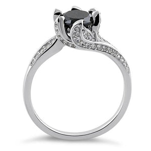Sterling Silver Round Cut Black & Clear CZ Ring