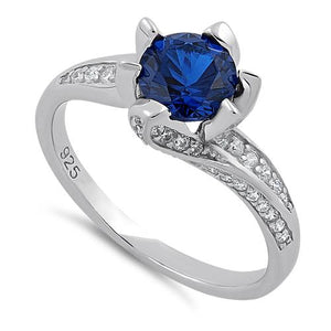 Sterling Silver Round Cut Blue Spinel & Clear CZ Ring