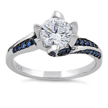 Load image into Gallery viewer, Sterling Silver Round Cut Clear & Blue Spinel CZ Ring