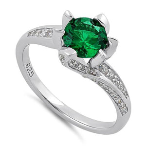 Sterling Silver Round Cut Emerald & Clear CZ Ring