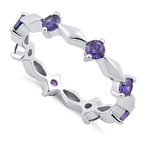 Sterling Silver Round Cut Eternity Amethyst CZ Ring