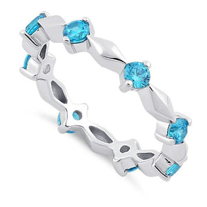 Sterling Silver Round Cut Eternity Blue Topaz CZ Ring
