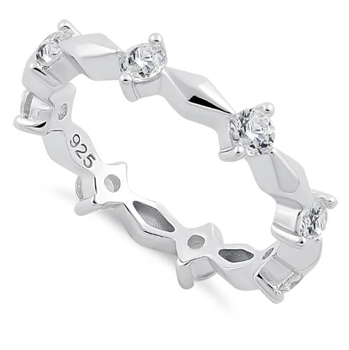 Sterling Silver Round Cut Eternity Clear CZ Ring
