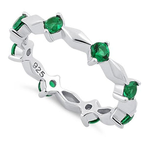 Sterling Silver Round Cut Eternity Emerald CZ Ring