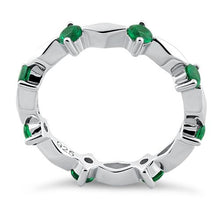 Load image into Gallery viewer, Sterling Silver Round Cut Eternity Emerald CZ Ring