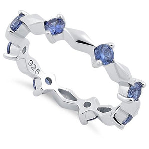 Sterling Silver Round Cut Eternity Tanzanite CZ Ring