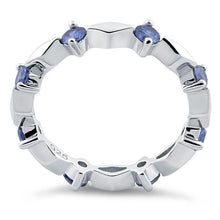 Load image into Gallery viewer, Sterling Silver Round Cut Eternity Tanzanite CZ Ring