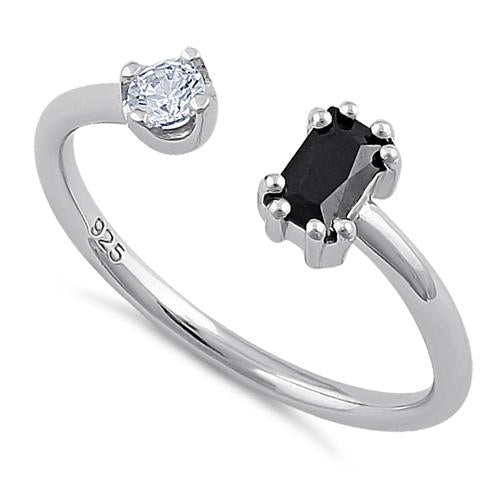 Sterling Silver Round & Emerald Cut Black & Clear CZ Ring