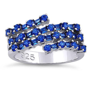 Sterling Silver Round & Emerald Cut Blue Sapphire CZ Ring