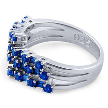 Load image into Gallery viewer, Sterling Silver Round & Emerald Cut Blue Sapphire CZ Ring