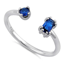 Load image into Gallery viewer, Sterling Silver Round & Emerald Cut Blue Spinel CZ Ring