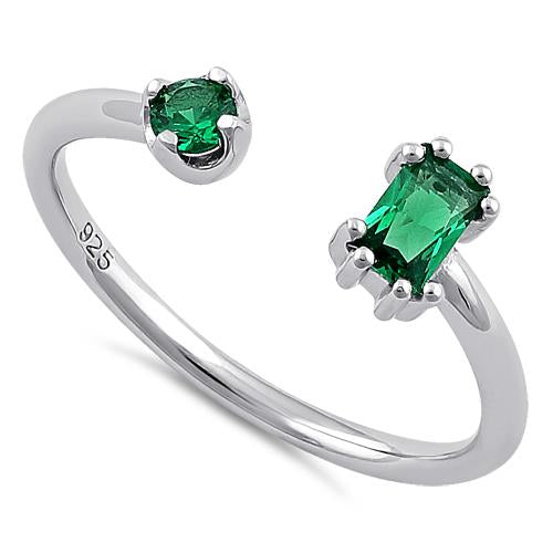 Sterling Silver Round & Emerald Cut Emerald CZ Ring