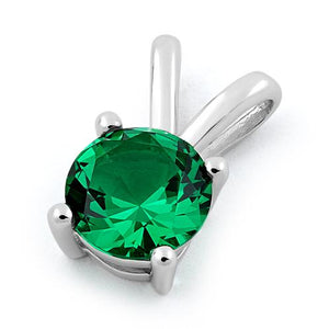 Sterling Silver Round Emerald CZ Pendant