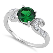 Load image into Gallery viewer, Sterling Silver Round Emerald CZ Ring
