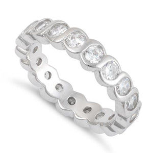 Sterling Silver Round Eternity CZ Ring
