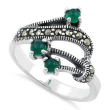Load image into Gallery viewer, Sterling Silver Round Green Agate Abstract Marcasite Ring