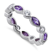 Load image into Gallery viewer, Sterling Silver Round & Marquise Amethyst CZ Eternity Ring