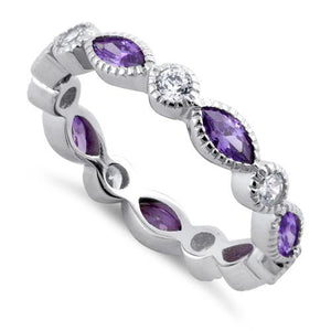 Sterling Silver Round & Marquise Amethyst CZ Eternity Ring