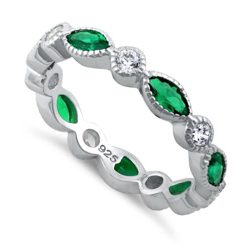 Sterling Silver Round & Marquise Emerald CZ Eternity Ring