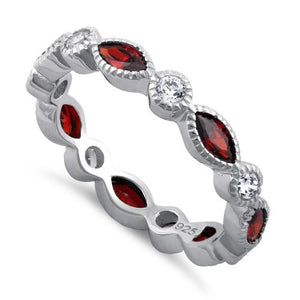 Sterling Silver Round & Marquise Garnet CZ Eternity Ring