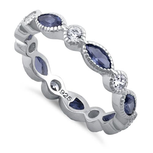 Sterling Silver Round & Marquise Tanzanite CZ Eternity Ring