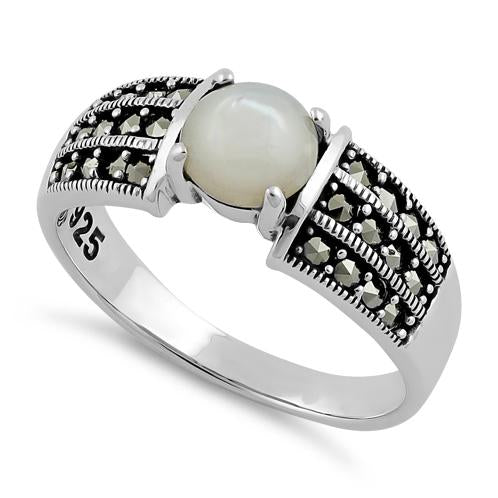 Sterling Silver Round Mother of Pearl Marcasite Ring