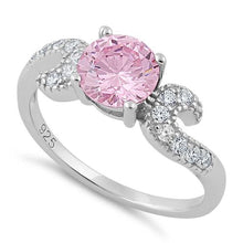 Load image into Gallery viewer, Sterling Silver Round Pink CZ Ring