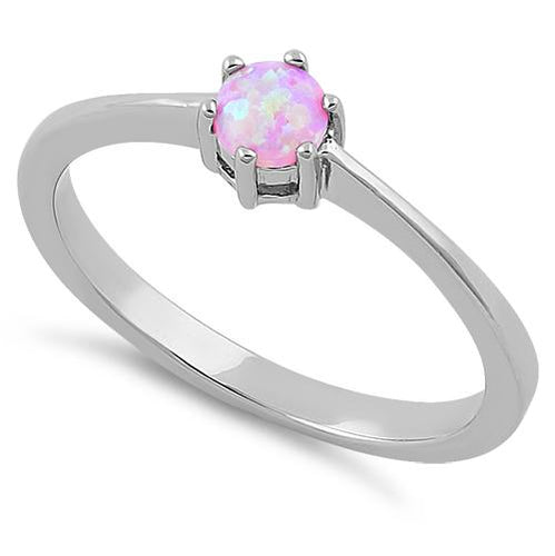 Sterling Silver Round Pink Lab Opal Ring